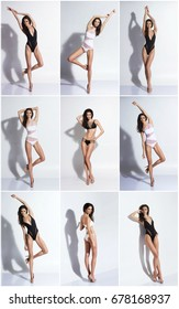 Set of a young and beautiful girl in erotic swimsuit over white background. Summer fashion concept.