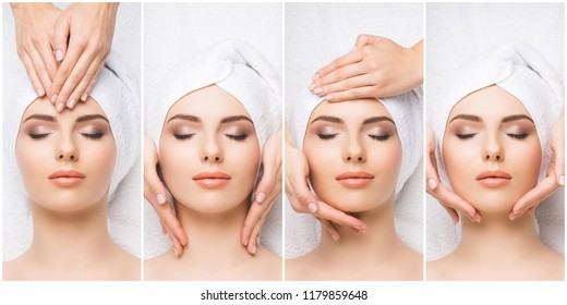 Set with young and beautiful girls relaxing in spa. Woman in massaging salon. Traditional oriental therapy and massaging treatments. Health and medicine concept.