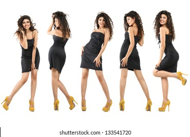 Set of young dancing women isolated over white background