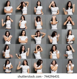 Set of young girl emotions. Casual brunette woman grimacing and gesturing on camera at gray studio background. Happiness, fear, surprise, disgust. Positive and negative feelings