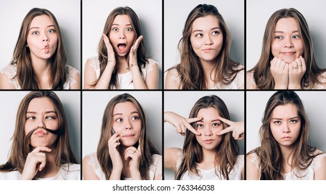 Set of young girl emotions. Casual brunette woman grimacing and gesturing on camera, using mobile at gray studio background. Happiness, surprise, disgust. Positive and negative feelings