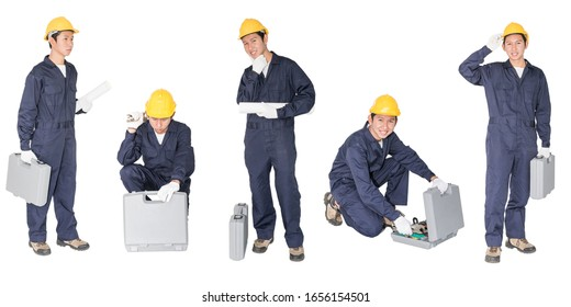 Set of Young handyman  with his tool box isolated on white background