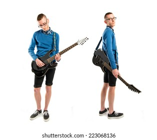 Set of young man with his guitar over white background