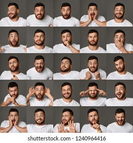 Set of young man portraits with different emotions and gestures