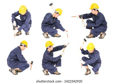 Set of Young man in uniform sit and holding hammer was nailed to a cold chisel Cut out isolated on white background