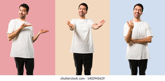 Set of Young man with white shirt presenting and inviting to come with hand. Happy that you came on colorful background