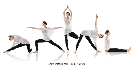 Set of young woman doing yoga in different positions