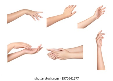 Set of Young Woman hands isolated on white background.