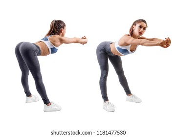 Set of young woman in sportswear doing inclines exercise. Isolated on white background.