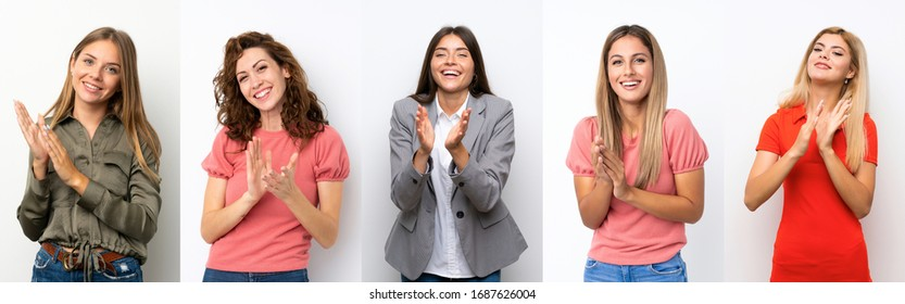Set of young women over white background applauding after presentation in a conference
