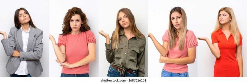 Set of young women over white background unhappy for not understand something