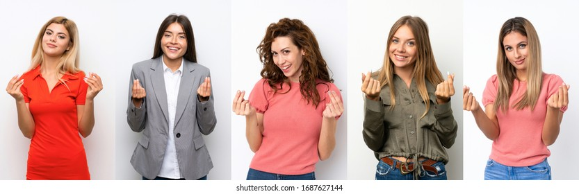 Set of young women over white background making money gesture