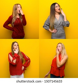 Set of young women yawning and covering wide open mouth with hand