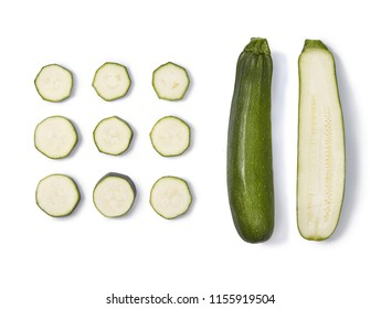 A set of zucchini image. Whole zucchini, half and sliced zucchini. Top view.