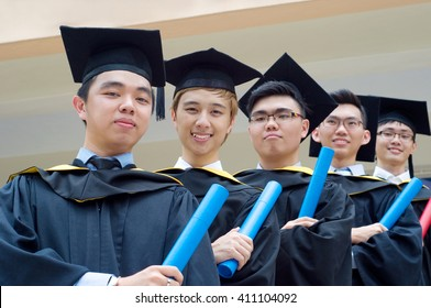 Setapak, Kuala Lumpur, Malaysia. Nov 07, 2015:Graduates from Universiti Tunku Abdul Rahman (UTAR) share their joy with friends during convocation.UTAR is a leading public university in Malaysia.
