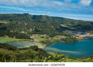 Sete Cidades with Lagoa azul and Lagoa verde, Sao Miguel, Azores