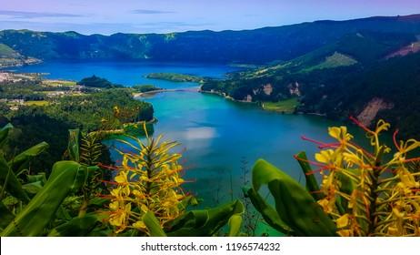 Sete Cidades at Lake Azul on the island Sao Miguel Azores