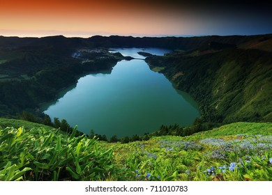 Sete Cidades landscape in sunset light, Sao Miguel Island, Azores, Europe