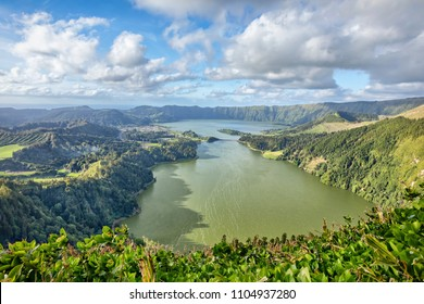 Sete Cidades - a twin lake situated in the crater of a dormant volcano, Sao Miguel island, Azores, Portugal