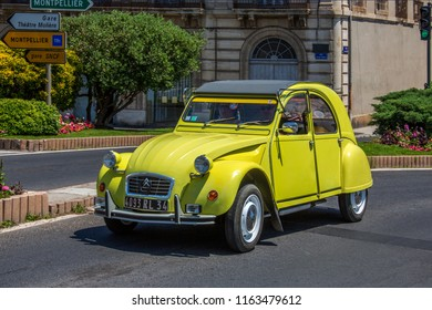 Sete. France. 06.17.12. A Citroen 2CV in Sete in the South of France. The 2CV was an economy car produced by the French car manufacturer Citroen between 1948 and 1990.