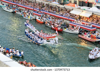 SETE, FRANCE -August 27, 2018: Water Jousting performance during St.Louis festival at the streets of Sete, South of France