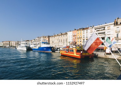 Sete, France - August 8, 2018: Boats in the harbour of the city of Sete, southern France.