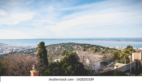 Sete, France - January 4, 2019: view of the heights of Sete with its marine port, the oyster and mussel farms on a winter day