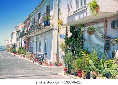 SETE, FRANCE - July 15, 2016: A Fishermen's district (village) of Sete called La Pointe Courte