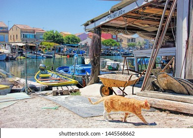 SETE, FRANCE - July 15, 2016: Cat, fishermen's boats and huts in the Fishermen's district (village) of Sete called La Pointe Courte