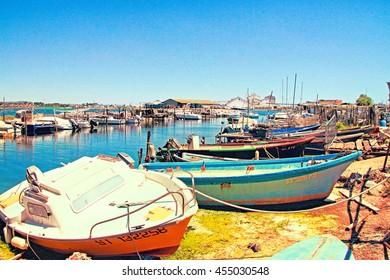 SETE, FRANCE - July 15, 2016: Fishing boats in  La Pointe Courte: A Fishermen's district (village) of Sete, Herault, France