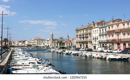 SETE, FRANCE - JULY 23, 2018: Sete, a seaside resort and singular island in the Mediterranean sea, it is named the Venice of Languedoc Roussillon, France