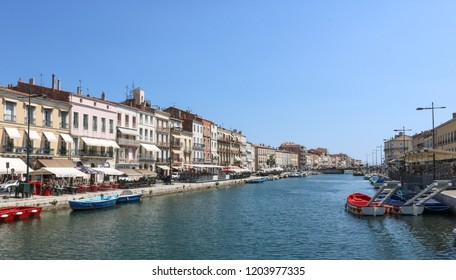 SETE, FRANCE - JULY 23, 2018: View of the channel. The Sete is the eastern beginning of the famous Canal du Midi. France.