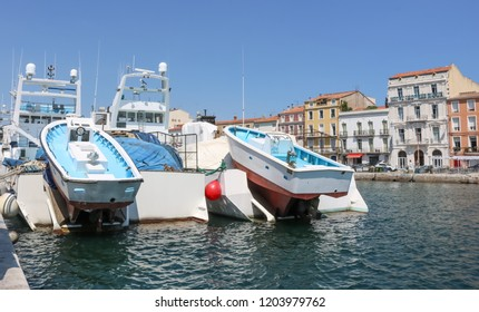 SETE, FRANCE - JULY 23, 2018: Fishing schooners in the city of Sete. France.