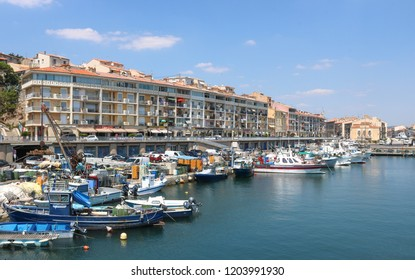 SETE, FRANCE - JULY 23, 2018: Quay of the canal in Sete. France.