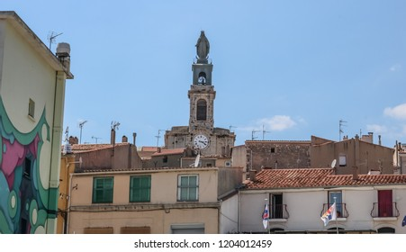 SETE, FRANCE - JULY 23, 2018: Tower of St. Louis Cathedral in Sete, France.