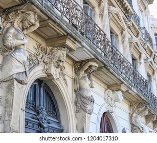SETE, FRANCE - JULY 23, 2018:  The unique facade of the house with the sculptures in Sete. France.