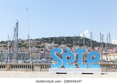 Sete, France - July 3, 2018: View of the city of Sete from the harbor, France