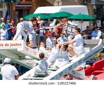 SETE, FRANCE - June 20, 2017: Water jousting competition which lasted in Sete on the south of France. Jousting is a fight on the boat practised principally in France