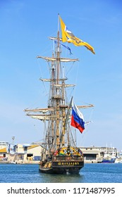 """SETE, FRANCE - March 24, 2016:  Russian frigate Shtandart preparing for an imaginary battle with Czech frigate La Grace - during the """"Stopover in Sete"""" - Maritime Traditions Festival"""