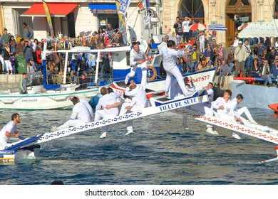 SETE, FRANCE - March 26, 2016: Water Jousting performance during Stopover in Sete - Maritime Traditions Festival from the 22 to 28 march 2016  at the streets of Sete, South of France