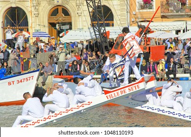 SETE, FRANCE - March 26, 2016: Water Jousting performance during Stopover in Sete, - Maritime Traditions Festival from the 22 to 28 march 2016  at the streets of Sete, South of France