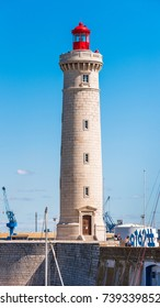 SETE, FRANCE - SEPTEMBER 10, 2017: Stunning harbour of Sete with lighthouse in the south of France near the Mediterranean. Copy space for text. Vertical