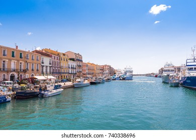 SETE, FRANCE - SEPTEMBER 10, 2017: View of the royal canal in Sete. Copy space for text