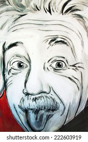 SETE, FRANCE  - SEPTEMBER 21, 2014: Graffiti portrait of Albert Einstein - famous physicist of the 20 century on the wall of Sete, south of France.