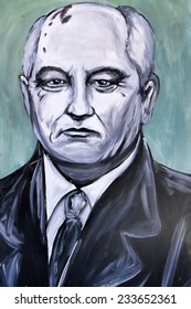 SETE, FRANCE  - SEPTEMBER 21, 2014: Graffiti portrait of Mikhail Gorbachev - a former Soviet statesman and last leader of the Soviet Union on the wall of Sete, south of France.
