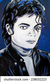SETE, FRANCE - September 21, 2014: Michael Jackson (Called the King of Pop) portrait graffiti on a wall of Sete, South of France.