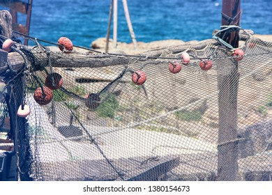 Sete, Herault, France : Fishing nets in the A Fishermen's district (village) of Sète called La Pointe Courte