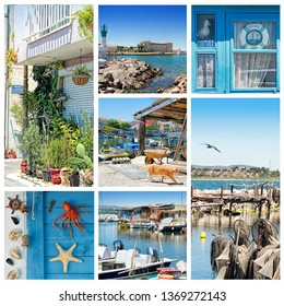 """Sete, Herault, France : Photo collage of  A Fishermen's district (village) called La Pointe Courte.You only have to look at the street names: """"Jousters' Passage"""", """"Oarsmen's Lane"""", """"Fisherman's Alley"""""""