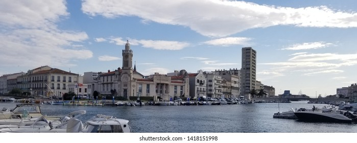 Sete,France;5/26/2019: Nice view of the navigable canals of Sete