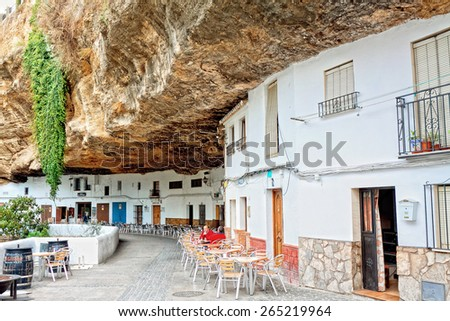 SETENIL DE LAS BODEGAS, SPAIN - NOVEMBER 22: View of historic center on September 07, 2014 in Setenil de las Bodegas, Cadiz, Spain, November 22, 2014. A popular plac among tourists.